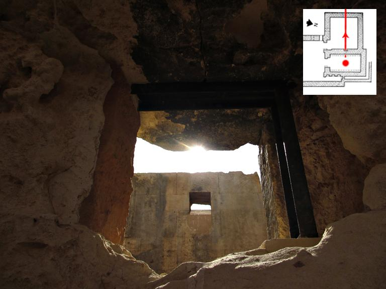 6.  The view through the sanctuary's western wall 'window', as seen by the 'eyes' in the previous photo (5). Here, we see the western wall and 'window' of the Receiving Room (we saw the outside of this wall and 'window' in figure 2). In this amazing image, we can see the setting sun falling down in line with the western Receiving Room wall 'window' below it. Recall, however, that the building does not retain the ceiling/roof that it once had, which would not have originally allowed for such a sight as we now have here.